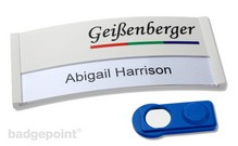 "polar� 35 ""color-print"" (Eye-catching nametag with colored plastic front)"